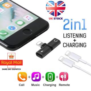 2in1 Lightning Adapter Splitter Dual Headphone Audio & Charger iPhone 11 X 8 7