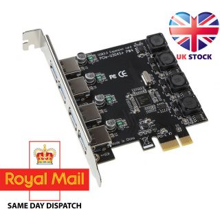 EkoBuy PCI-E 4-Port USB 3.0 Expansion Card Super Speed Up to 5Gbps Plug and Play