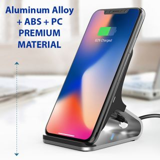 EkoBuy® Dual-Coil 10W Fast QI Wireless Charger Stand with Aluminium Alloy Stand