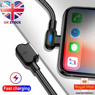 90° Right Angle Braided Lightning USB Charger Cable 1M 2M For iPhone 11 X 7 6 5
