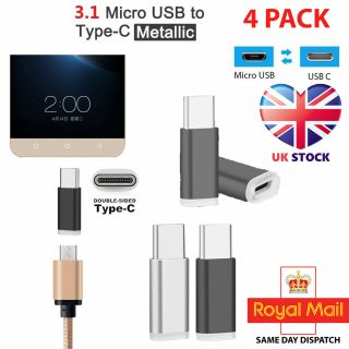 4x Mini USB C/Type-C To Micro USB 3.1 Connector Adapter Converter For Samsung