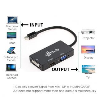 EkoBuy Mini DisplayPort mini DP to HDMI, VGA or DVI 3-IN-1 Adapter Converter