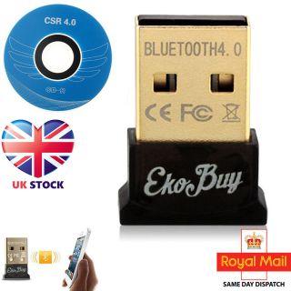 EkoBuy USB Bluetooth v4.0 CSR Adapter Dongle PC Windows 10 8 7 XP in Retail Pack